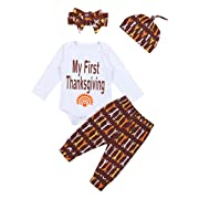 Baby Girls Clothes Long Sleeve Romper Top,Stripe Floral Pants + Headband & Hat 4pcs Outfits Set (0-3Months) Brown