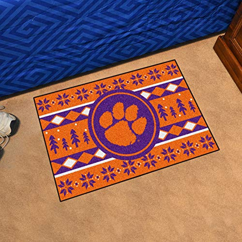 Fanmats NCAA Holiday Sweater Starter Rug, Clemson, 19