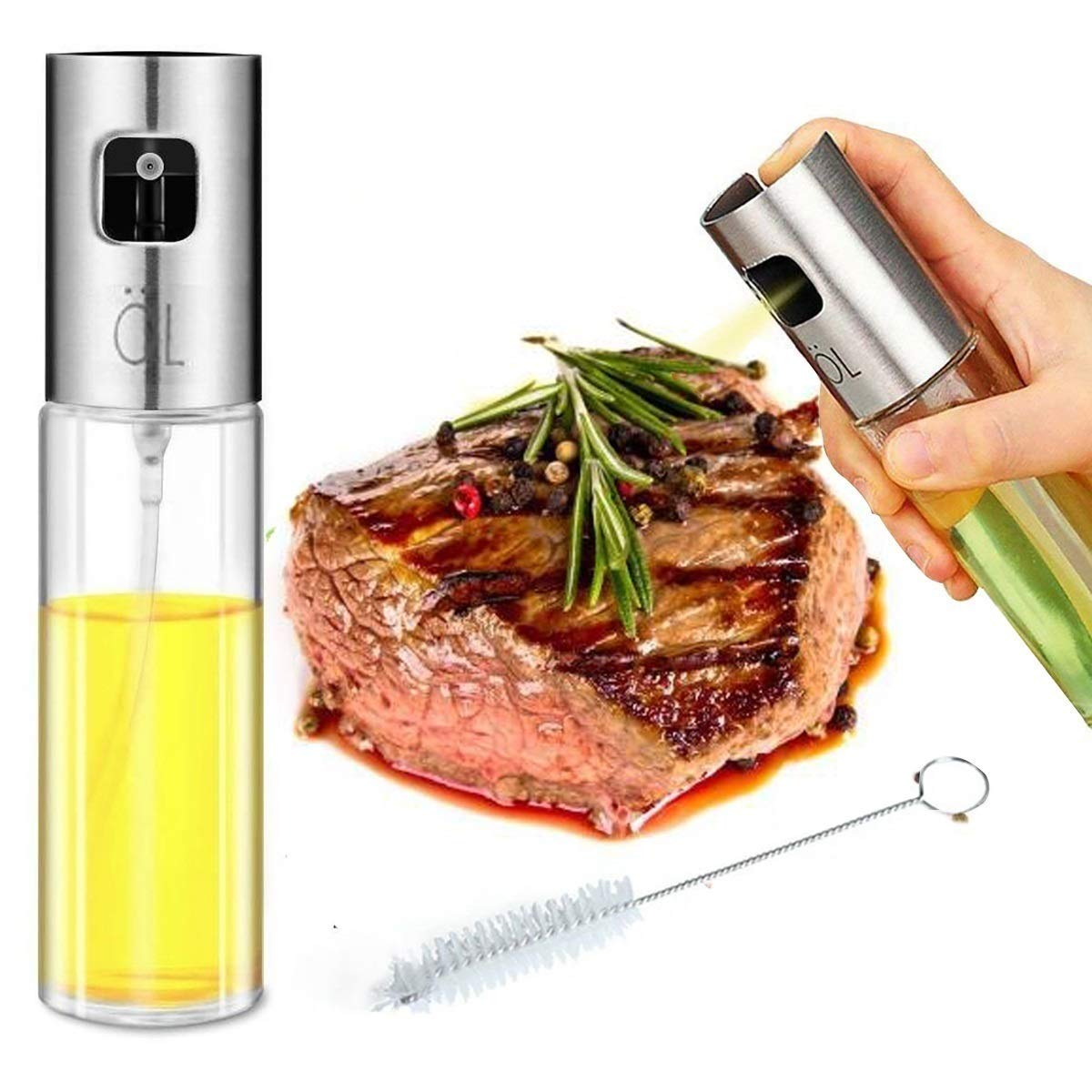 B-hero Olive Oil Sprayer Oil Sprayer for Cooking 100ML/3.4OZ Glass Kitchen Oil/Vinegar Sprayer, with Cleaning Brush for BBQ/Cooking/Grilling/Baking/Frying