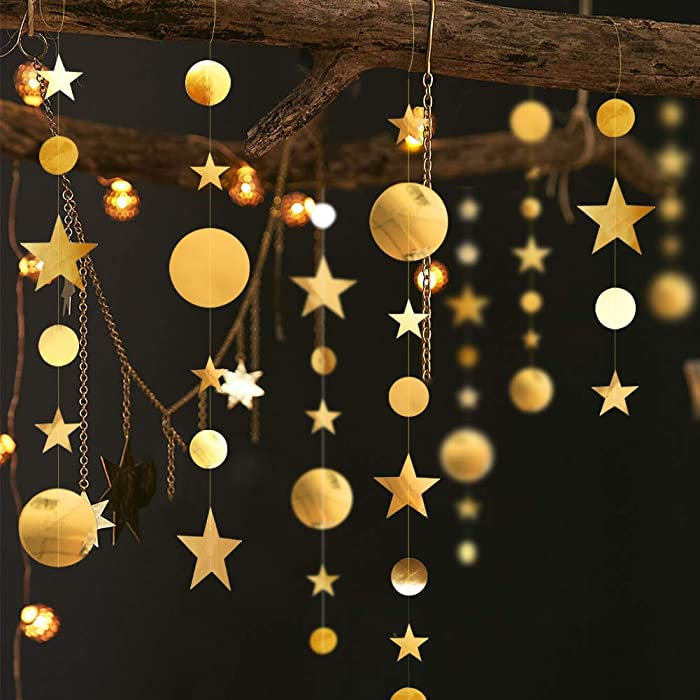 Gold Twinkle Little Star Party Garlands Kit Metallic Glitter Matt Gross Big Paper Circle Garland Bunting Banner for Birthday Baby Shower Wedding New Year Party Kids Boys Girls Nursery Room Showcase