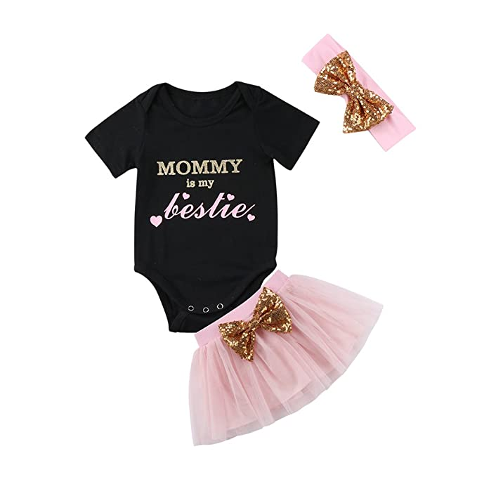 c527aed30af Newborn Baby Girl Outfit Summer Cute Short Sleeve Romper + Bowknot Tutu  Skirts + Pink Headband
