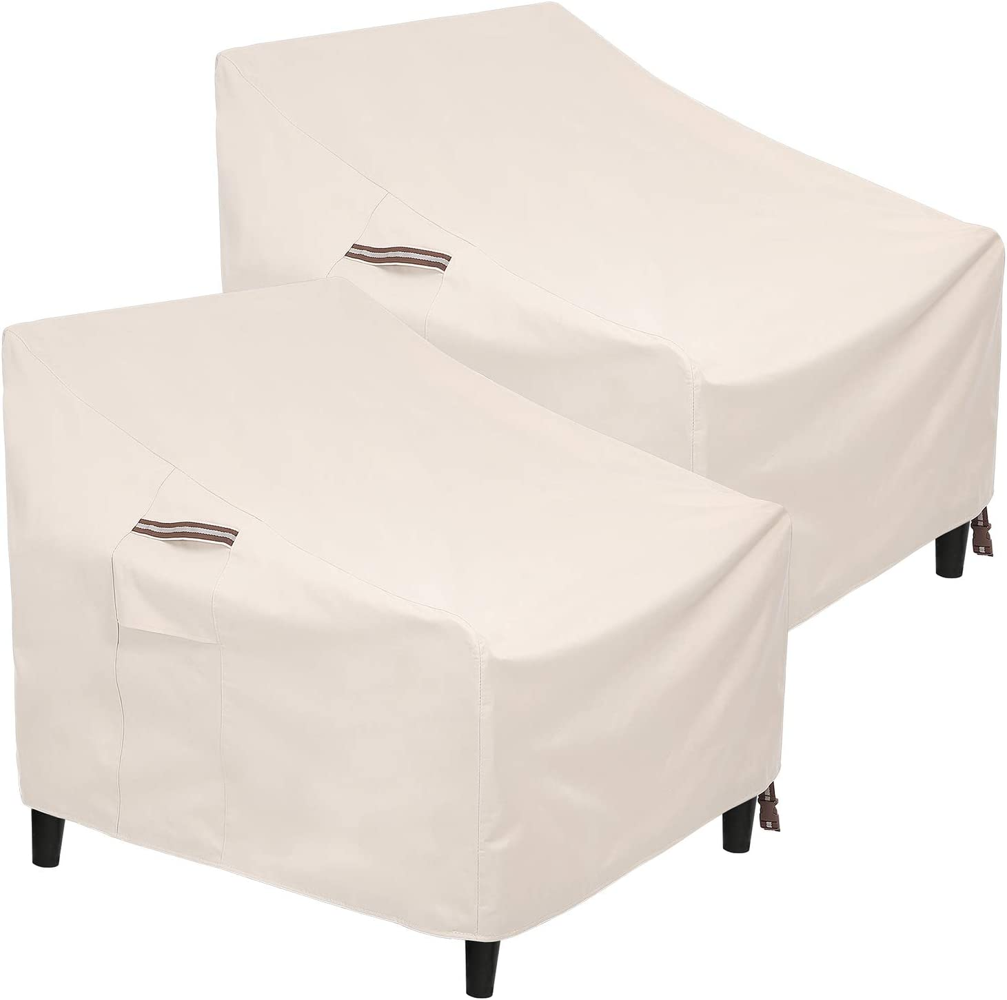 SONGMICS Patio Chair Covers, Set of 2, Heavy Duty Patio Chair Covers, 600D Waterproof Protective Covers, for Outdoor Garden Deep Seat Chair, 31.9 x 37 x 35.8/19.3 Inches, Beige UGCC009M02