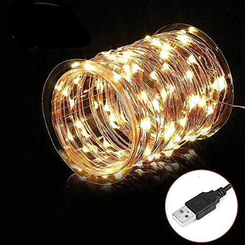 Moongate LED String Lights,Waterproof Fairy String Lights 100 Leds 33ft Starry String Lights USB Powered Copper Wire Lights for Bedroom, Party, Wedding, Christmas Decorative Lights (Warm White)