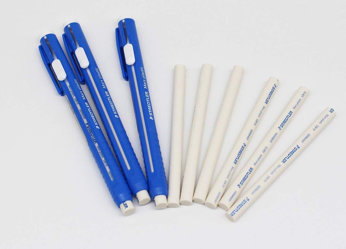 STAEDTLER Stick Eraser Set - Mars plastic 528 50 Pen Shape Eraser 3set + Refills 6pieces / Solid eraser with little residue / Length adjustable body / German brand by KoreArtStory