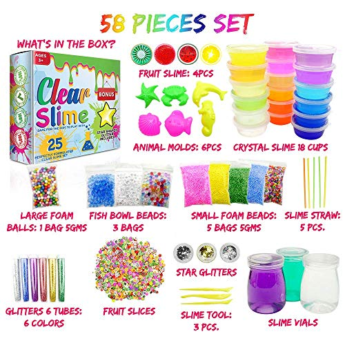 Clear Slime 58Pc Crystal Slime Kit for DIY Crystal Slime Set | 25 Colors Slime, 6 Pack Foam Beads, 4 Scented Fruit & 3 Jars | Complete Supplies & Glitter Accessories for Boys & Girls by Clear Slime (Image #1)
