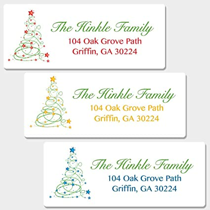 amazon com 60 personalized christmas tree return address labels