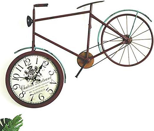 UHRKS Reloj de Pared, Retro Vintage Hierro Mudo Vidrio Bicicleta ...