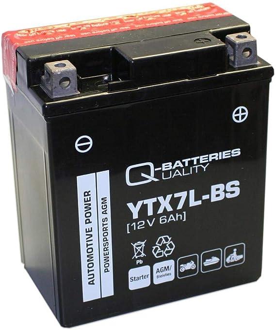 Q Batteries 9877373 Motorcycle Battery Agm Ytx7l Bs Agm 50614 12v 6ah 110a Auto