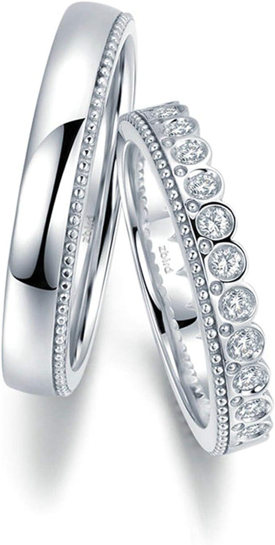 KnSam Anillo Oro Blanco de 18K, Corona de Princesa Príncipe Anillo de Bodas con Diamante Blanco 0.104ct, Anillo de Hombre Anillo de Mujer (Precio por 2 Anillos)