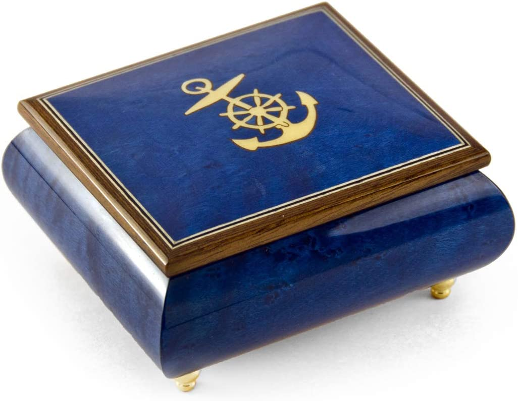 Vibrant Blue Nautical Theme Inlay of Anchor Music Box - Many Songs to Choose - English Country Garden