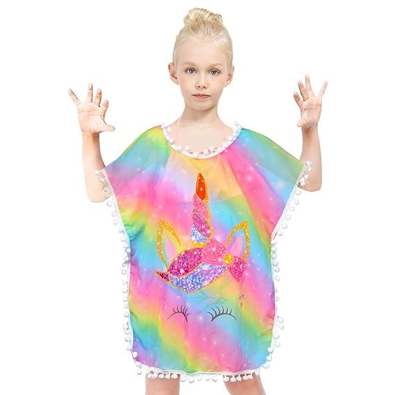 Kid Girls Chiffon Unicorn Mermaid Cover-up Beach Swimsuit Coverup Pompom Tassel