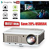 EUG LED WiFi LCD Projector HDMI USB, Support Full HD 1080P 720P Home Theater System Android Wireless Video Projectors with Built-in Speakers Keystone Remote 50000 Hours LED Lifespan