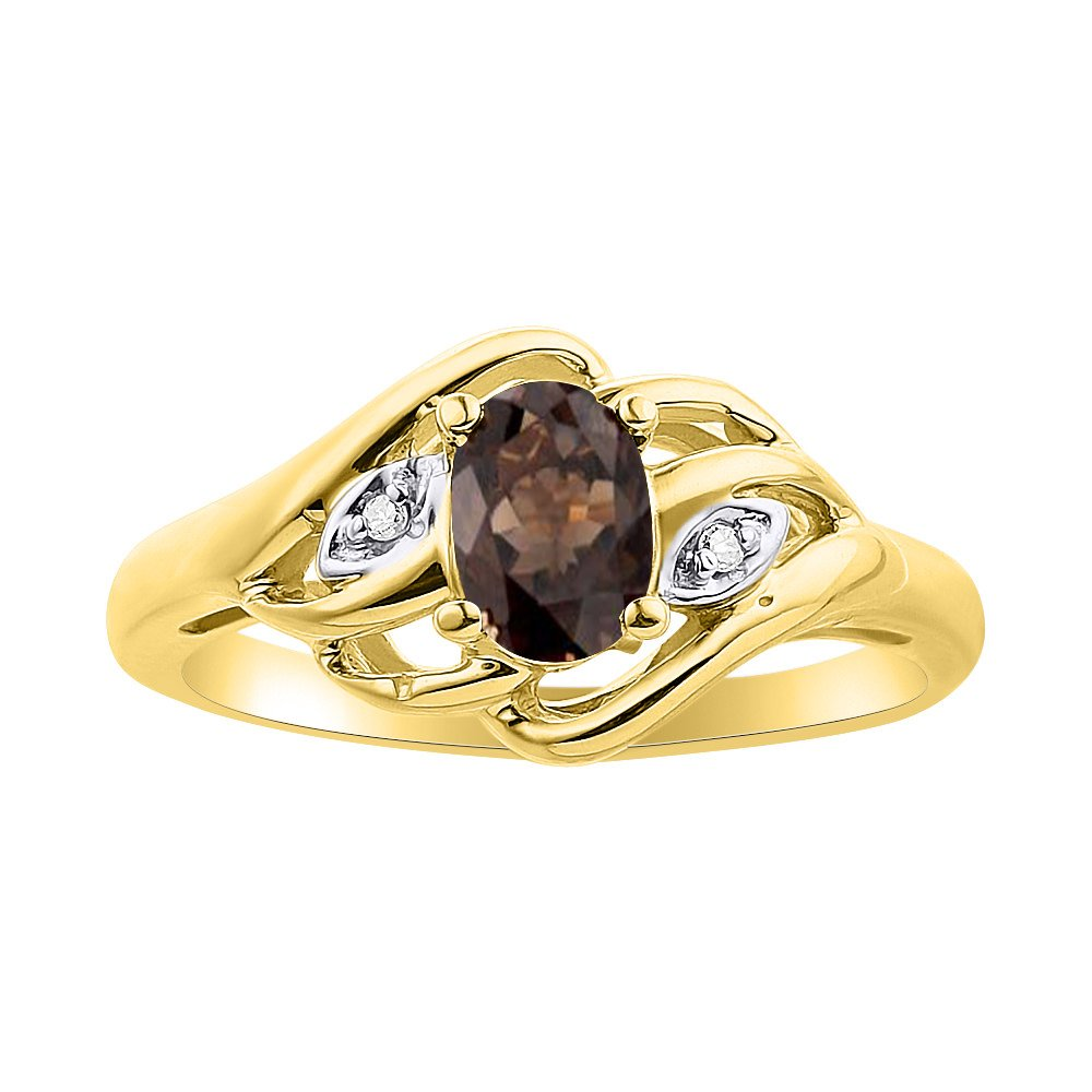 Diamond /& Smoky Quartz Ring Set In Yellow Gold Plated Silver Birthstone
