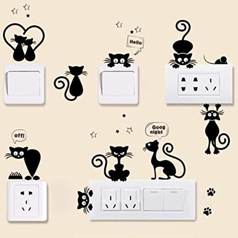 4pcs Light Switch Wall Stickers For Kids Rooms Diy Home Decoration Animal Decals