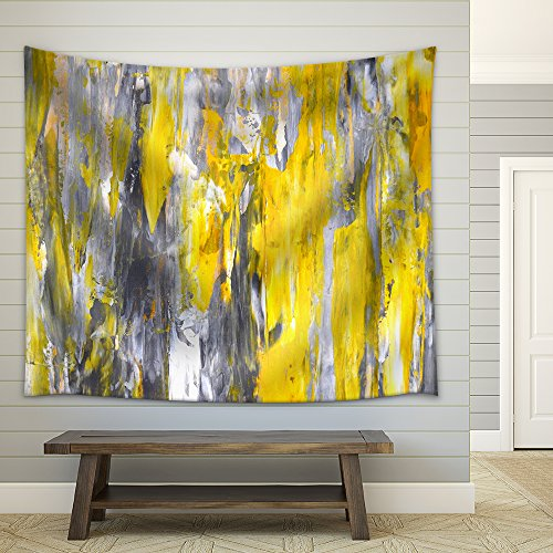Grey and Yellow Abstract Art Painting Fabric Wall