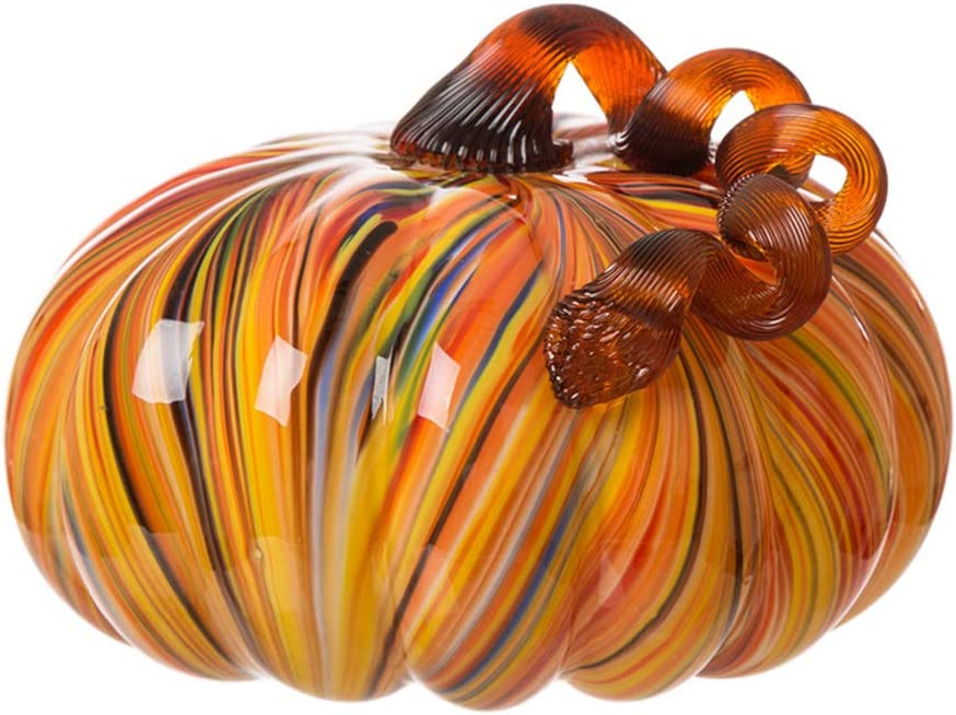 Glitzhome Multi Striped Large Glass Pumpkin
