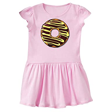 cfc6ba094c85 Amazon.com  inktastic - Chocolate Donut Brown Glaze Yellow Icing Toddler  Dress 32e1b  Clothing