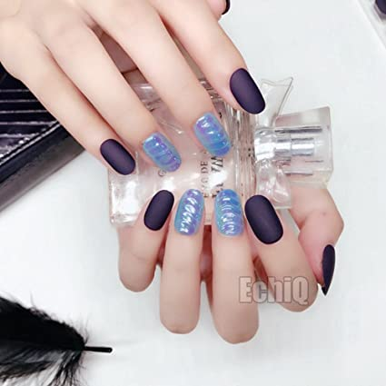 echiq cromado Magic vender color falso uñas 28pcs/set Acrílico completo cover Dark Morado mate