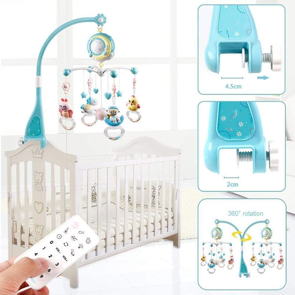 iBaste/_ Mobile mit Musik f/ür Babybett Babyspielzeug Musikkrippe Glockenspielzeug zum Aufh/ängen von Rasseln mit Drehprojektion Geschenk