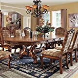 Medieve English Style Antique Oak Finish 9-Piece Formal Dining Table Set