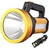 LED Rechargeable Handheld Searchlight Linterna Camping LED al aire libre, IPX4 Impermeable USB Linterna recargable Foco reflector Luz de emergencia 4800mah Banco de energía con mini linterna