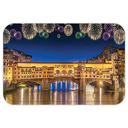 [Kisscase Custom Door MatApartment Decor Night Panoramic View of Vecchio Bridge Florence Italy with Colorful FireworkDecor Gold Navy Purple] (Florence And The Machine Costume)