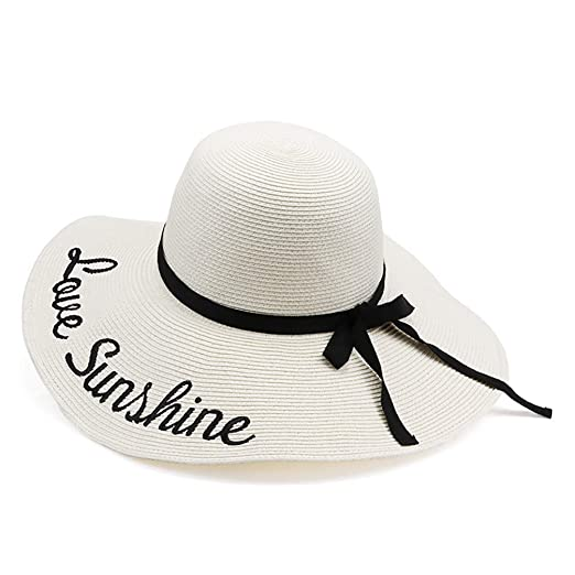 9b39891d2 Womens Sun Paper Straw Hats Summer Wide Brim Beach Casual Adjustable  Foldable Hat With UV Protection Mix Brown M/L