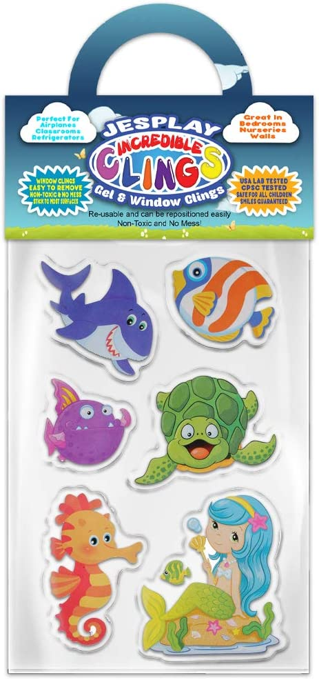 Ocean Pals Thick Gel Clings Incredible Removable Window Clings for Kids, Toddlers - Turtle, Shark, Mermaid, Seahorse, Angel Fish - Incredible Gel Decals for Glass, Walls, Planes, Classrooms, Bedrooms