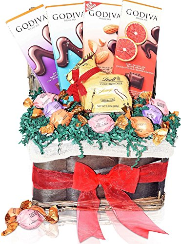 GODIVA & LINDT Christmas Gift Basket - GIANT LINDT Reindeer,Godiva Assorted Truffles, Dark Chocolate Specials, Giant Lindt Reindeer - Send a Prime BASKET for Man, Woman & Families