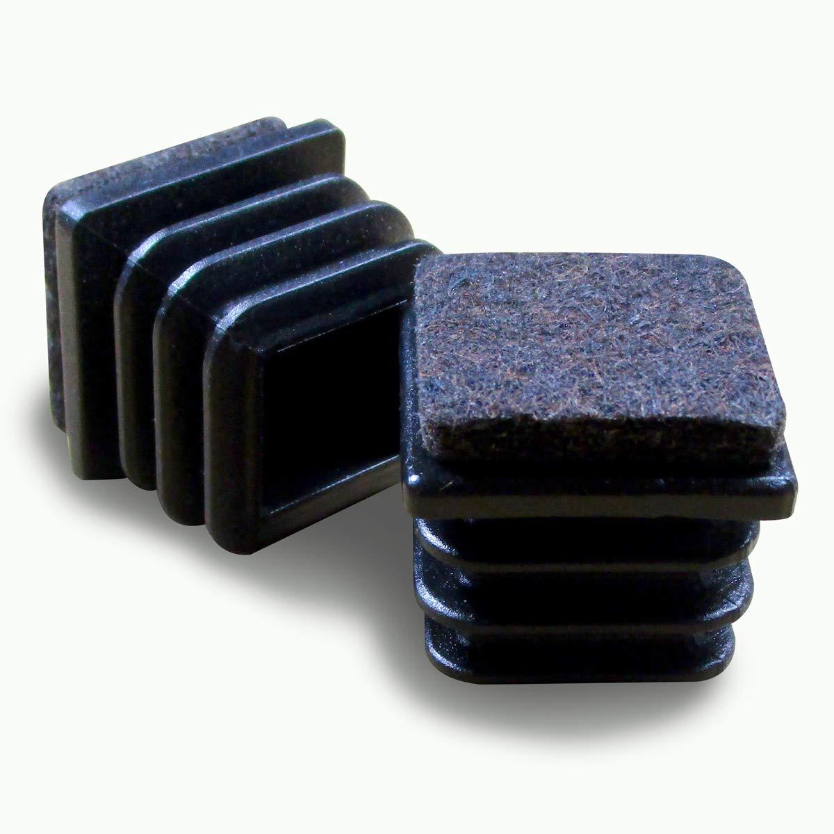Ajile® - 16 piezzas - Tapones cuadrados para pata de silla y almehadillas 16 x 16 mm DIMENSION EXTERNA con suela de fieltro contra ruido y arañazos - ECF116-FBA