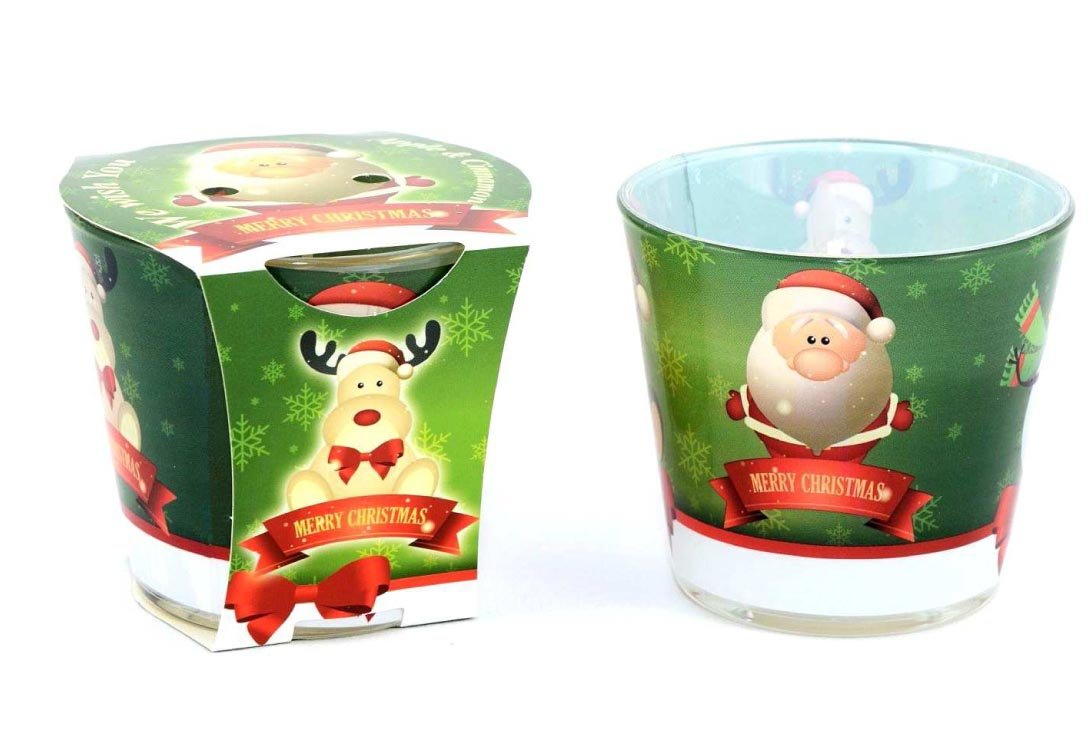 Enigma Supplies 6 Traditional Nostalgia Christmas Candles Apple & Cinnamon Glass Filled Candles with Classic Santa Clause Image
