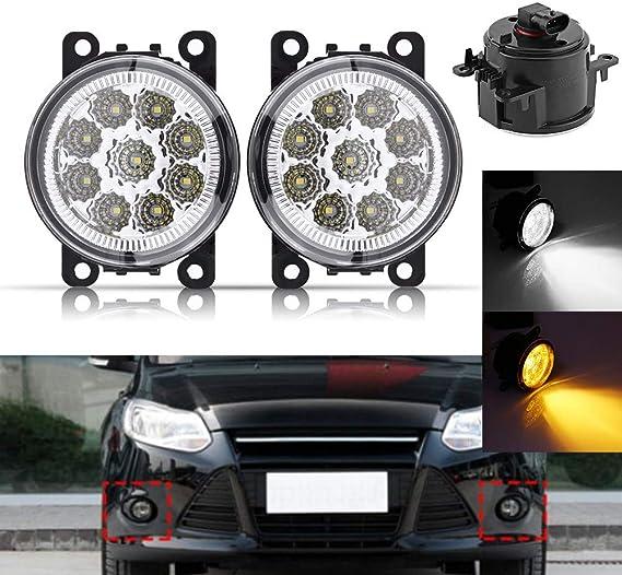 Qiilu Feux de brouillard de voiture conduisant des lampes de pare-chocs ampoules de lampe de conduite ronde /à lentille transparente pour Sierra 1500 2500HD 3500 HD 07-14