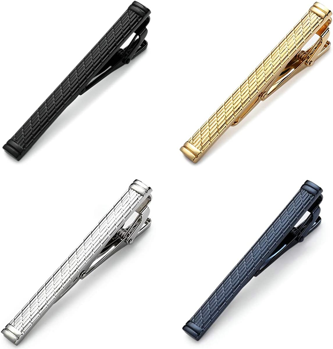 MOZETO Tie Clips for Men, 4pcs Fashion Shining Style Tie Bar for Regular Ties, Luxury Package, Gift for Men