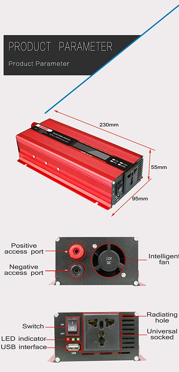 2000W Pure Sine Wave Power Inverter 12V DC to 110 V AC Output Converter with LCD Display and Powerful USB Port for RVs Cars Home Use,2000W