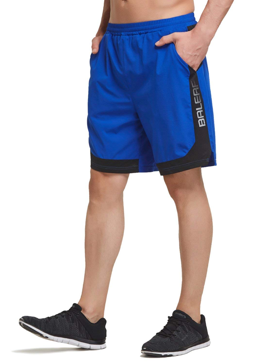 Baleaf Men's 7 Inches Quick Dry Running Shorts Mesh Liner Zip Pockets Royal Blue Size XXL by Baleaf