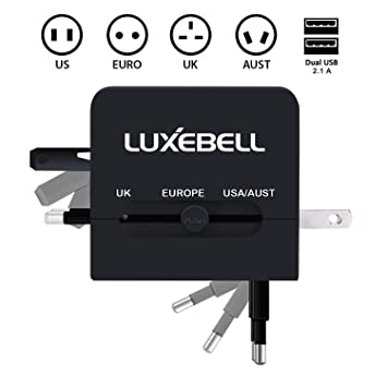 Cargador de Viaje Universal Luxebell Adaptador de Enchufe All-In-One Mundial Internacional con USB Dual Puerto (US EURO UK AUST) - Negro