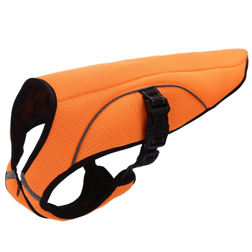 BINGPET Dog Cooling Jacket Evaporative Swamp Cooler Vest Reflective Safety Pet Hunting Harness, Orange 2XL