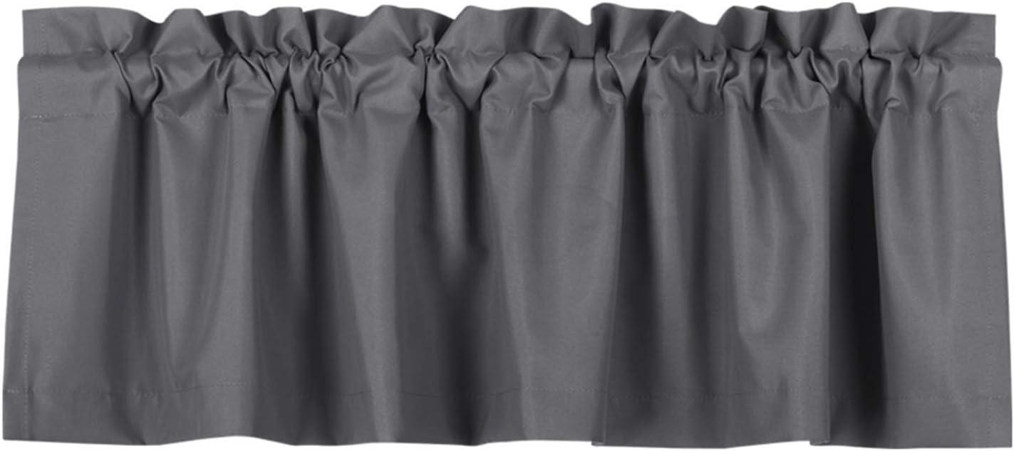 Valea Home Blackout Valance Curtains Waterproof Soft Rod Pocket Valance for Kitchen and Bathroom Window Room Darkening Valances for Bedroom, 52 inch x 18 inch, Grey