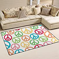 LORVIES Peace Sign Patterns Area Rug Carpet Non-Slip Floor Mat Doormats for Living Room Bedroom 60 x 39 inches