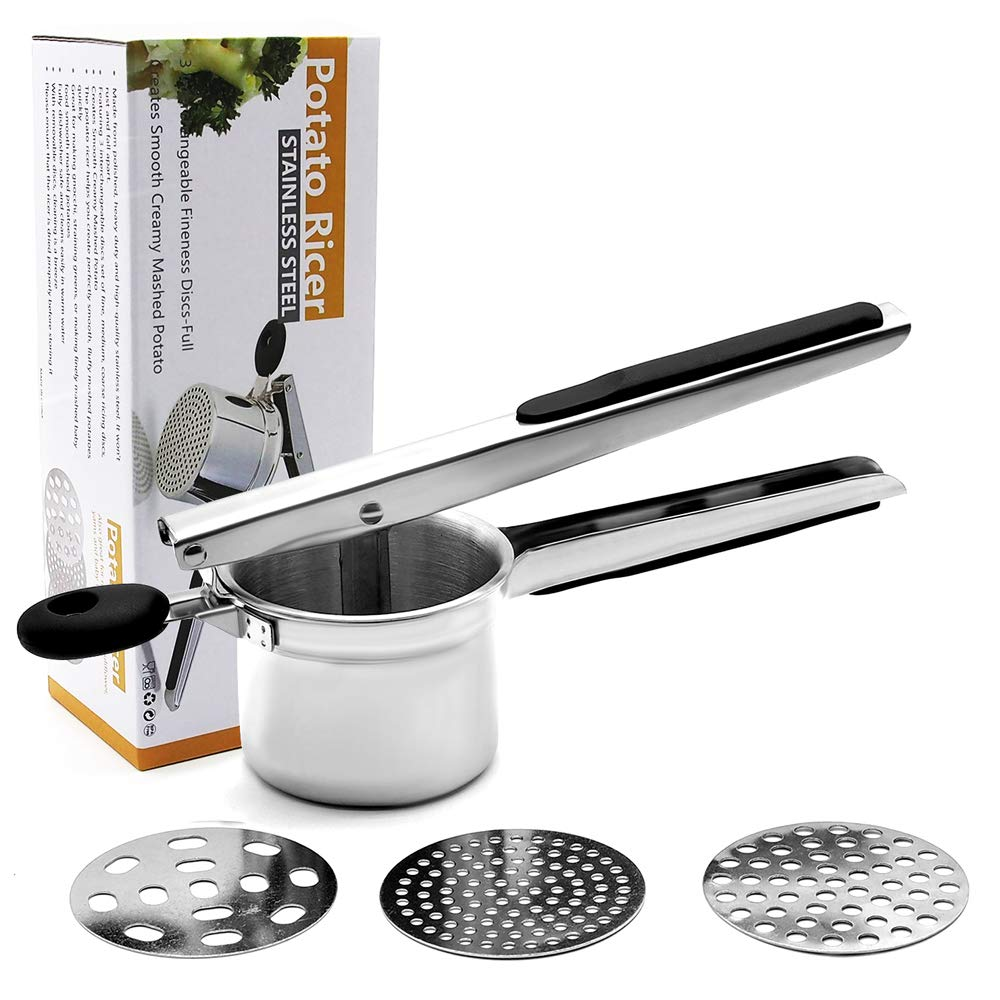 Potato Ricer,OneCut Stainless Steel Potato Masher Set with 3 Ricing Discs (Fine, Medium, Coarse),for Baby Food Strainer, Fruit Masher, and Food Press by OneCut