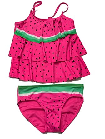 5448285d428ae Amazon.com  Justice Girls Swimwear Watermelon Tiered Tankini Set Raspberry  Poly  Clothing