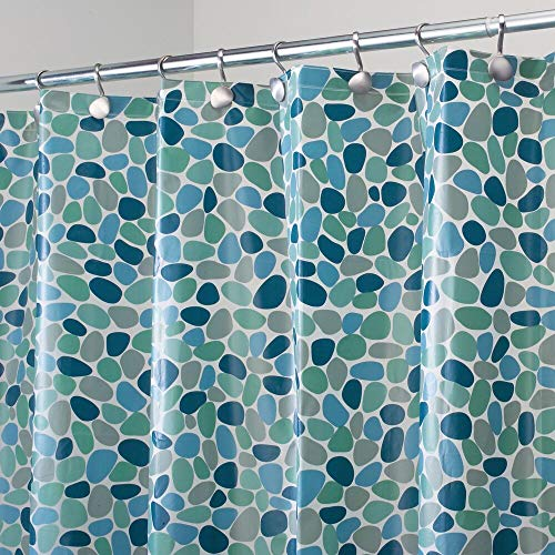 mDesign Decorative Pebble Print - Waterproof, Heavy Duty PEVA Shower Curtain Liner, for Bathroom Showers, Stalls and Bathtubs - 72 x 72 - Blue
