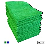 Denali USA Auto 380GSM ultra thick soft microfiber detailing towel/cloth set with high piles&low piles on each side to hold diff functions for auto/car kitchen wash&dry,12pack,green&blue (green, 12)
