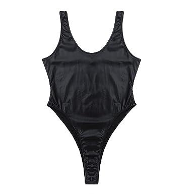 f351424e0f iEFiEL Women s Fashion Wetlook Spectrum High Cut Holographic Leotard  Bodysuit Black Large
