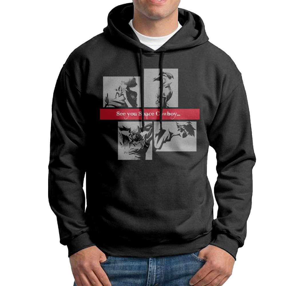 6413f2ef Rebecca-P Men's Cowboy Bebop Japanese Classic Hoodie Sweatshirt Black