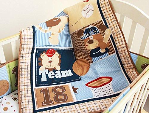 NAUGHTYBOSS Boy Baby Bedding Set Cotton Cartoon Bear Play Baseball Pattern Quilt Bumper Bedskirt Fitted Diaper Bag 8 Pieces Set Blue by NAUGHTYBOSS (Image #4)
