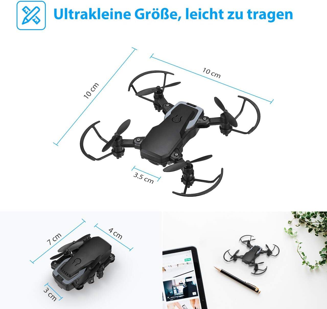 Powerextra Mini Drohne mit Kamera 3 x Batterien f/ür Anf/änger Faltbare Mini-Drohne mit Fernbedienung HD WiFi FPV-Kamera 2,4 GHz 3D-Flips und Twist-Funktion mit Aufbewahrungstasche