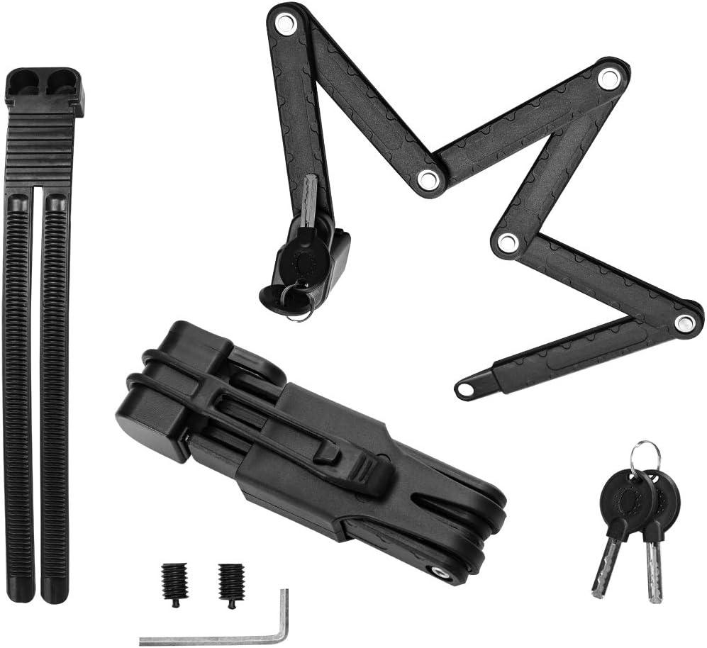 Surplex Candado de Bicicleta Plegable con Llaves y Montaje de Cerradura, Cerradura de Cadena portátil de aleación de Acero de Alta Resistencia Seguridad antirrobo Cerradura de Motocicleta Negro