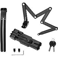 Surplex Candado de Bicicleta Plegable con Llaves y Montaje de Cerradura, Cerradura de Cadena portátil de aleación de…