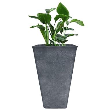 Tall Planter 26  Large Flower Pot, Patio Deck Indoor Outdoor Garden Tree Resin Planters, Gray